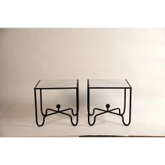 Design Fr res Pair of Wrought Iron and Marble Entretoise Side Tables by Design Fr res - 1079125