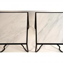 Design Fr res Pair of Wrought Iron and Marble Entretoise Side Tables by Design Fr res - 1079128