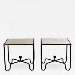 Design Fr res Pair of Wrought Iron and Marble Entretoise Side Tables by Design Fr res - 1079181