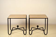 Design Fr res Pair of Wrought Iron and Travertine Entretoise Side Tables by Design Fr res - 1337547