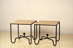 Design Fr res Pair of Wrought Iron and Travertine Entretoise Side Tables by Design Fr res - 1337548