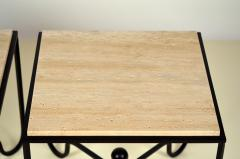 Design Fr res Pair of Wrought Iron and Travertine Entretoise Side Tables by Design Fr res - 1337550
