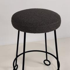 Design Fr res Set of 3 Chic Wrought Iron and Boucle Counter Stools - 1666875