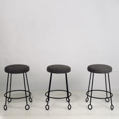 Design Fr res Set of 3 Chic Wrought Iron and Boucle Counter Stools - 1666879