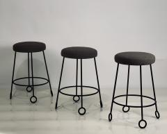 Design Fr res Set of 3 Chic Wrought Iron and Boucle Counter Stools - 1666882