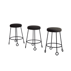 Design Fr res Set of 3 Chic Wrought Iron and Boucle Counter Stools - 1667034