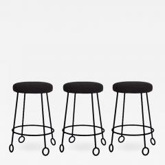 Design Fr res Set of 3 Chic Wrought Iron and Boucle Counter Stools - 1667083