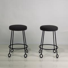 Design Fr res Set of 4 Chic Wrought Iron and Boucle Counter Stools - 1666688