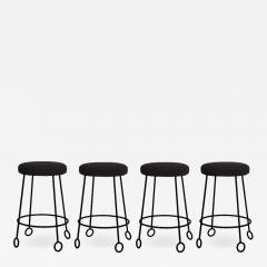 Design Fr res Set of 4 Chic Wrought Iron and Boucle Counter Stools - 1667079