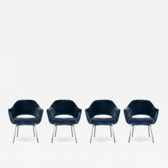 Design Fr res Set of 4 Gorgeous Velvet Upholstered Eero Saarinen Chairs - 1717748