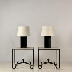 Design Fr res Set of Large Croisillon Matte Black Lamps and Entretoise Travertine Tables - 1343114