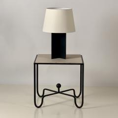 Design Fr res Set of Large Croisillon Matte Black Lamps and Entretoise Travertine Tables - 1343122