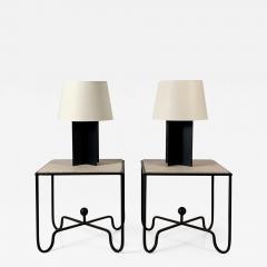 Design Fr res Set of Large Croisillon Matte Black Lamps and Entretoise Travertine Tables - 1344431