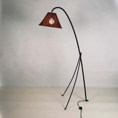 Design Fr res Slender Wrought Iron and Rattan Floor Lamp - 1667522