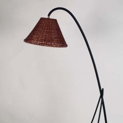 Design Fr res Slender Wrought Iron and Rattan Floor Lamp - 1667524