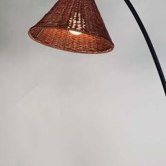 Design Fr res Slender Wrought Iron and Rattan Floor Lamp - 1667525