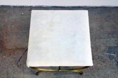 Design Fr res The Strapontin Gilt Metal and White Hide Stool by Design Fr res - 1077254