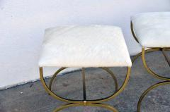 Design Fr res The Strapontin Gilt Metal and White Hide Stool by Design Fr res - 1077255