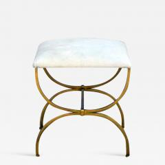 Design Fr res The Strapontin Gilt Metal and White Hide Stool by Design Fr res - 1078746