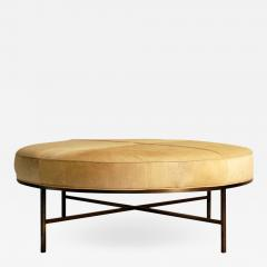 Design Fr res The Tambour Natural Hide and Brass Ottoman - 742018
