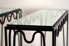 Design Fr res Undulating M andre Wrought Iron and Glass Console by Design Fr res - 1339949