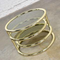 Design Institute America Modern round brass smoke glass end table or coffee table w pivoting tiers - 1681957