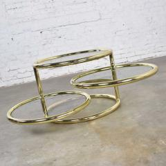 Design Institute America Modern round brass smoke glass end table or coffee table w pivoting tiers - 1681982
