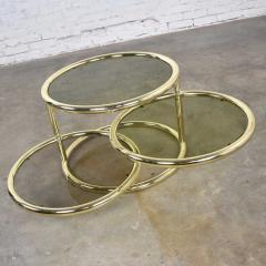 Design Institute America Modern round brass smoke glass end table or coffee table w pivoting tiers - 1681983