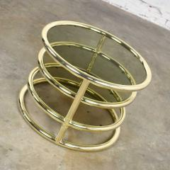 Design Institute America Modern round brass smoke glass end table or coffee table w pivoting tiers - 1681997