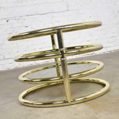 Design Institute America Modern round brass smoke glass end table or coffee table w pivoting tiers - 1682014