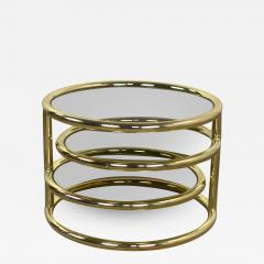 Design Institute America Modern round brass smoke glass end table or coffee table w pivoting tiers - 1685624