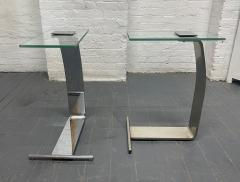 Design Institute America Pair Nickel and Glass Cantilevered Side Tables by Design Institute of America - 1950876