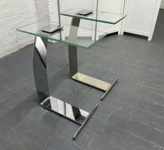 Design Institute America Pair Nickel and Glass Cantilevered Side Tables by Design Institute of America - 1950877