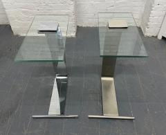 Design Institute America Pair Nickel and Glass Cantilevered Side Tables by Design Institute of America - 1950878
