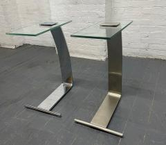 Design Institute America Pair Nickel and Glass Cantilevered Side Tables by Design Institute of America - 1950879