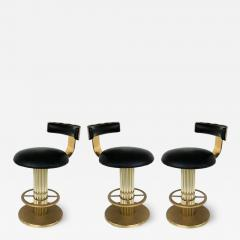 Designs for Leisure Ltd Design For Leisure Leather and Brass Counter Stools Set of 3 - 1242149