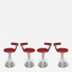 Designs for Leisure Ltd Design for Leisure Stainless and Leather Bar Stools Set of 4 Swivel Stools - 1242148