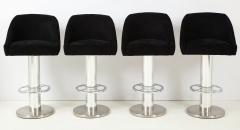 Designs for Leisure Ltd Set of Four Design for Leisure Barstools in Chrome and Ultrasuede - 1554126