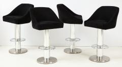 Designs for Leisure Ltd Set of Four Design for Leisure Barstools in Chrome and Ultrasuede - 1554128