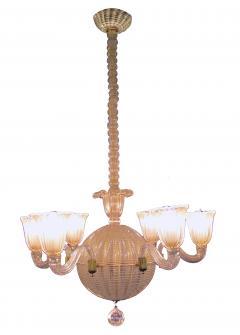 Dino Martens A good quality Murano 6 light spheroid chandelier by Dino Martens - 700748