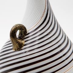 Dino Martens Dino Martens for Aureliano Toso Huge White and Black Goose Neck Murano Vase - 831949