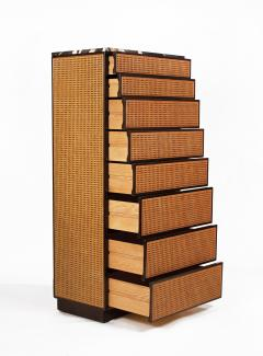 Directional Directional Chest of Drawers in Basket Weave Cane and Mahogany with Marble Top - 1162587