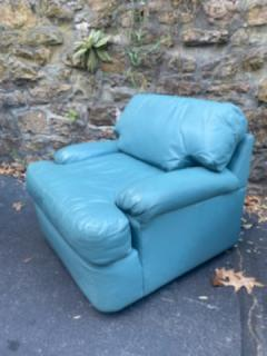 Directional SKY BLUE LEATHER SWIVEL CHAIRS BY DIRECTIONAL - 1701605