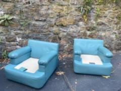 Directional SKY BLUE LEATHER SWIVEL CHAIRS BY DIRECTIONAL - 1701607