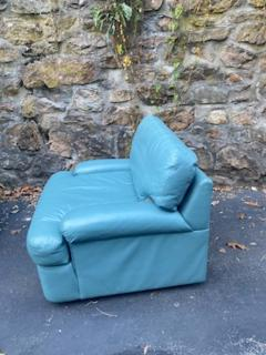 Directional SKY BLUE LEATHER SWIVEL CHAIRS BY DIRECTIONAL - 1701608