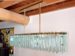 Dominici Large rectangular Mid Century Modern glass brass chandelier by Dominici Brazil - 1447728