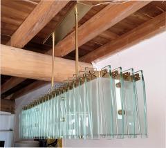 Dominici Large rectangular Mid Century Modern glass brass chandelier by Dominici Brazil - 1447735