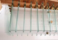 Dominici Large rectangular Mid Century Modern glass brass chandelier by Dominici Brazil - 1447737