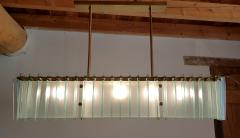 Dominici Large rectangular Mid Century Modern glass brass chandelier by Dominici Brazil - 1447738