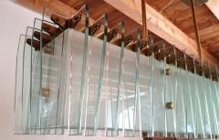 Dominici Large rectangular Mid Century Modern glass brass chandelier by Dominici Brazil - 1447739